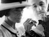 Douglas Kirkland  Coco Chanel in the Atelier creating fashions for the upcoming presentation. House of Chanel, Paris  photo 1962 [printed later]  archival pigment print, edition of 24, signed paper size > 20 x 24 inches