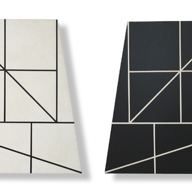 Will Insley [1929-2011] Wall Fragments No. 75.48 & 39, 1975 acrylic on masonite, 24 x 24 x 2 inches each