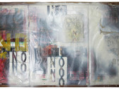 Boris Lurie (1924-2008)  NO (Baby Lotion), c.1964  collage; oil pint on paper mounted on canvas  38.5 x 81 inches