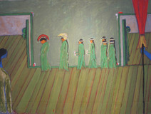 Acrylic on canvas painting of a procession of green characters walking between two doors.