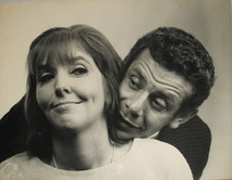 Jerry Stiller poses with head on right shoulder of Ann Meara, 1950s