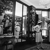 Douglas Kirkland  Mademoiselle Chanel with Madame Georges Pompidou, House of Chanel  1962 [printed later]  archival pigment print, edition of 24, signed  paper size > 20 x 24 inches