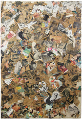 Mixed media artwork collage from newspaper cutouts brown background
