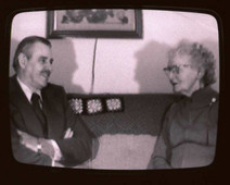 Film still of Herbert Welch and Oriola Welch in conversation for a video artwork