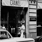 Douglas Kirkland  Mlle Chanel on Rue Cambon, in front of the House of Chanel  1962 [printed later]  archival pigment print, edition of 24, signed  paper size > 20 x 24 inches