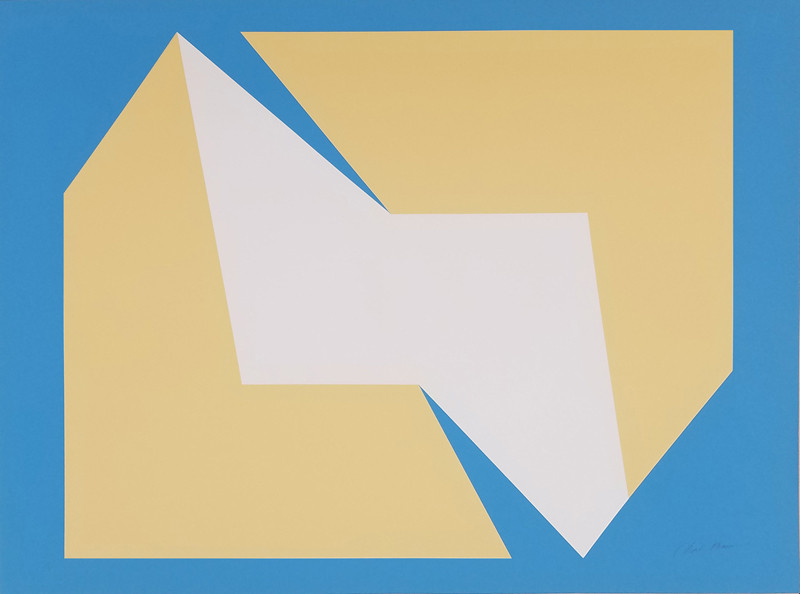 CHARLES HINMAN Tan on Blue Green, 1972  silkscreen on embossed paper, edition of 200, signed, stamped Paper Size: 25.5 x 34.25 inches | 64.8 x 87.0 cm Unframed