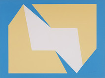 Print of two interconnected prisms, yellow and white, on blue background