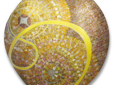 JAMES JUTHSTROM (1925-2007)  Flight of Icarus, circa 1970s  acrylic on canvas 70 inches diameter