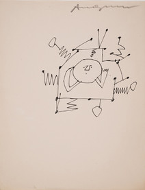 Untitled (Antenna), circa 1950s ink on paper, signed 11 x 8.5 inches