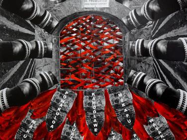 KAPULANI LANDGRAF  Hookuleana (to give responsibility), 2016  unique silver gelatin collage  32 x 24 inches