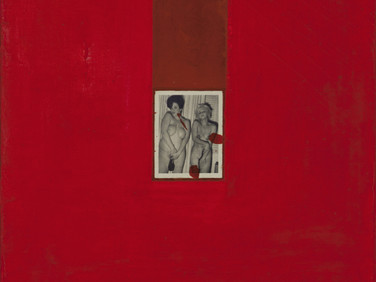 Boris Lurie (1924-2008) Altered Photos (Shame!), 1963  oil paint and photo on canvas  32 x 22.5 inches
