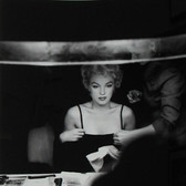 """Sam Shaw [1912-1999] Marilyn Monroe visiting the dressing room of Broadway star Carol Haney (who won a Tony award in the musical """"The Pajama Game,"""" 1955), New York City photo 1954 [printed later] gelatin silver print, AP, signed, stamped by the Estate  paper size > 19 .5 x 14.75 inches"""