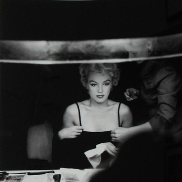 "Sam Shaw [1912-1999] Marilyn Monroe visiting the dressing room of Broadway star Carol Haney (who won a Tony award in the musical ""The Pajama Game,"" 1955), New York City photo 1954 [printed later] gelatin silver print, AP, signed, stamped by the Estate  paper size > 19 .5 x 14.75 inches"