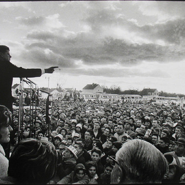 Jacques Lowe (1930-2001)  John F. Kennedy at a campaign rally, Kansas  photo fall 1960 [printed later]  gelatin silver print, AP, signed  paper size > 16 x 20 inches