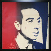Framed screenprint in red, black, and blue on newsprint of Vincente Minelli by Andy Warhol