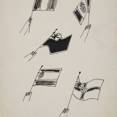 Untitled (Flags), circa 1950s ink on paper, signed 11 x 8.5 inches