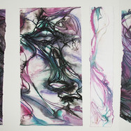 Charles Meyers,  Untitled [Purple Forms], circa 2000s, watercolor, ink on artist paper, signed  12 x 22 inches