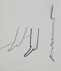 Untitled (Shoes), circa 1950s ink on paper, signed 4.125 x 3.5 inches