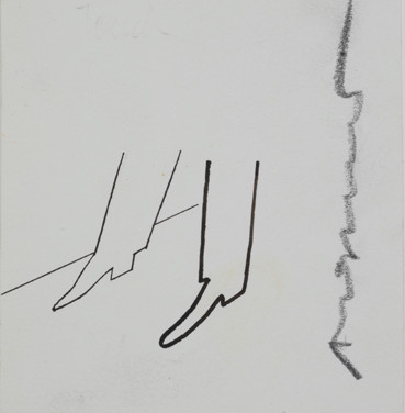 Untitled (Shoes), 1955-67 ink on paper, signed 4.125 x 3.5 inches
