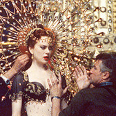 Douglas Kirkland  Director Baz Luhrman with Nicole Kidman on the set of 'Moulin Rouge' in Sidney.  photo 2000 [printed later]  archival pigment print on watercolor paper, edition of 24, signed, numbered  paper size > 30 x 24 inches