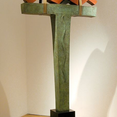 Jeff Maron  Approaching Kether, 1986  unique, etched copper alloy with polychrome oxides,  96 x 40 x 18 inches