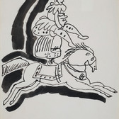 Untitled (Circus), 1955-67 ink on paper, signed 11 x 8.5 inches