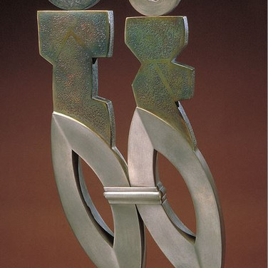 Jeff Maron  Marriage III, 1993 – 95  unique etched copper alloy with polychrome oxides,  36 x 22 x 19 inches