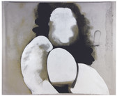 Painting of a stylized nude woman, faceless, painted in white, grays, black