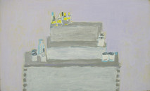 Acrylic on board painting of still life, books, household objects, gray monochrome with yellow