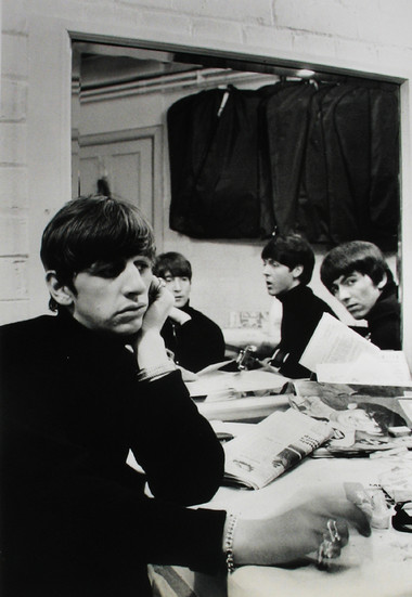 The Beatles backstage at the Cavern, Liverpool, 1963 vintage gelatin silver print Image Size: 13.5 x 8.75 inches   34.9 x 22.2 cm  Photography by Hatami (1928-2017)