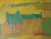 Painting of a landscape with green trees, yellow hills, ochre land mass