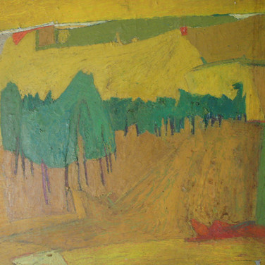 James Juthstrom (1925-2007)  Untitled (Hill with Trees), circa 1950s  oil on masonite, 40 x 60 inches
