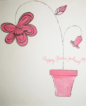 """Screenprint in pink and black of a flower pot with text """"Happy Flower Gathering Days"""""""