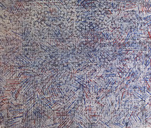 Abstract watercolor on paper, blue & violet parallel lines