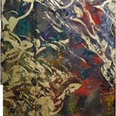 Charles Meyers [1934-2013]  Untitled [Gold, Red, Violet], circa 2000s  acrylic, gold leaf on canvas  76.5 x 43.5 inches