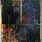 Boris Lurie (1924-2008) NO Poster, 1963 oil paint and offset print on wastepaper mounted on canvas 34 x 19 inches