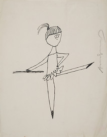Untitled (Ballerina 2), circa 1950s ink on paper, signed 11 x 8.5 inches