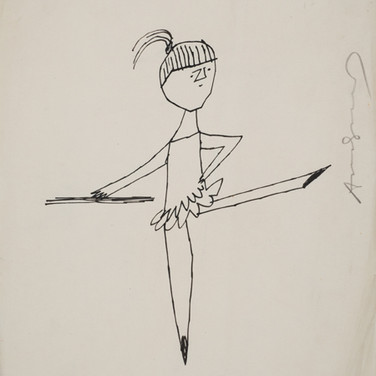 Untitled (Ballerina 2), 1955-67 ink on paper, signed 11 x 8.5 inches