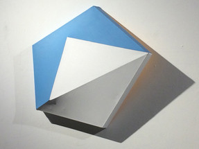 CHARLES HINMAN (b. 1932)  Blue Over from the Gem series, 2011  acrylic on shaped canvas  23.5 x 25 x 6 inches