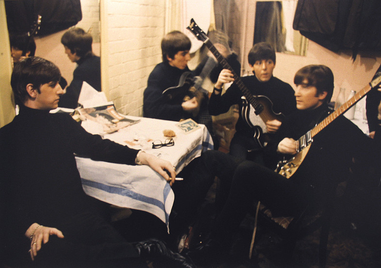 The Beatles backstage at the Cavern, Liverpool, 1963 vintage R-print Image Size: 13.5 x 8.75 inches   34.9 x 22.2 cm  Photography by Hatami (1928-2017)