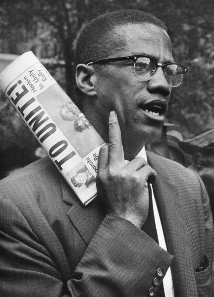 BOB ADELMAN (1930-2016) Malcolm X at a civil rights demonstration, Brooklyn NYC photo 1963 [printed later]  gelatin silver print, edition of 15, signed, numbered  Paper Size: 16 x 20 inches | 40.6 x 50.8 cm