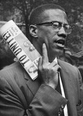 BOB ADELMAN (1931-2016) Malcolm X at a civil rights demonstration, Brooklyn NYC photo 1963 [printed later]  gelatin silver print, edition of 15, signed, numbered  paper size > 16 x 20 inches