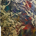 Charles Meyers Untitled [Gold, Red, Violet], circa 2000s  acrylic, gold leaf on canvas  76.5 x 43.5 inches