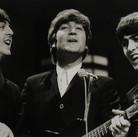 Paul McCartney, John Lennon, George Harrison at the Ed Sullivan Show, February 1964  vintage gelatin silver print image size > 7.25 x 11.25 inches  Photograph by Hatami (1928-2017)