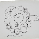 Untitled (Thinking 4), circa 1950s ink on paper [blotted ink technique], signed 7.5 x 10.75 inches