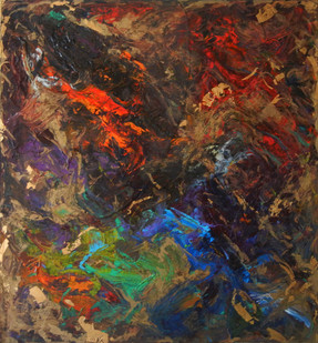 Rectangular painting with waves and swirls of red, blue, green, brown and gold on black canvas