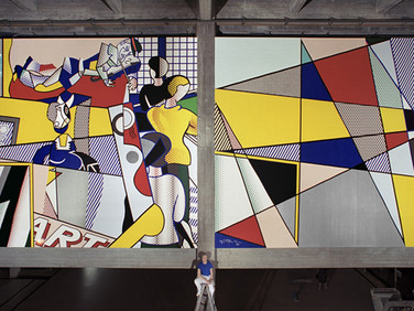 BOB ADELMAN (1930-2016) Roy Lichtenstein in front of his mural at the Tel Aviv Museum of Art  photograph 1989 (printed later)  archival pigment print, AP, signed  paper size > 17.5 x 30 inches