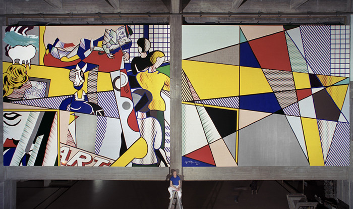 BOB ADELMAN (1930-2016) Roy Lichtenstein in front of his mural at the Tel Aviv Museum of Art  photograph 1989 [printed later] archival pigment print, AP, signed  Paper Size: 17.5 x 30 inches | 44.5 x 76.2 cm