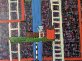 Detail of still life from an acrylic painting of white and red lines on violet background, resembling fire escapes on buildings