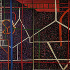 James Juthstrom (1925-2007) Fire Escape on Broome Street, January 30, 1968 acrylic on four canvas panels 72 x 202 inches
